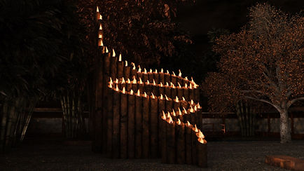 Bamboo Inspired Fire Sculpture