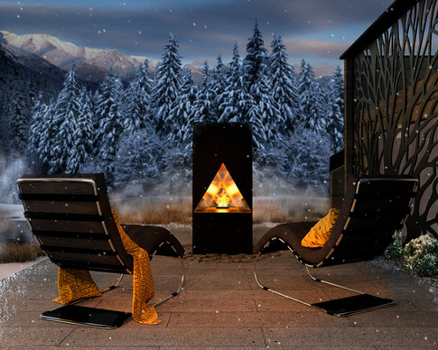 Outdoor Fireplace in the snowy mountains