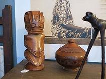 Marquesan wood carvings in Galerij Somewhere Els, Reyndersstraat 8, Antwerp