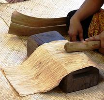 Tapa beating during workshop, Tapa Festival, Pirae, Tahiti November 2014