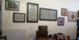 Boombastdoeken van Galerie Caroline aan de muur in galerie Somewhere Els van Els Van Steenacker, Antwerpen