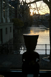 Evening view from Galerie Caroline popup towards Hofvijver The Hague, with tiki