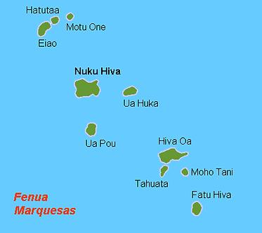 Kaart van de Markiezen eilandengroep van Holger Behr