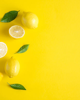 Yellow background. Lemon fruit. Flat lay