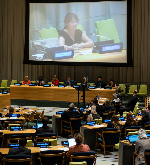 Timea addressing the United Nations