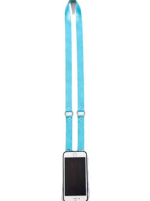 Blue Metallic Leather Phone Strap
