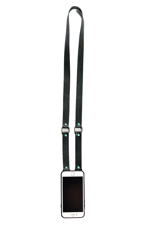 Black & Turquoise Leather Phone Strap