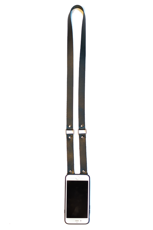Black & Silver Leather Phone Strap