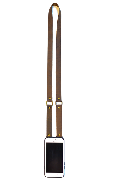 Brown & Brass Leather Phone Strap