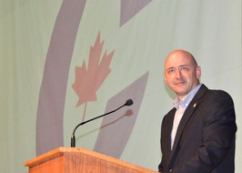 Alex Ruff takes the podium after being declared the Conservative candidate in Bruce-Grey-Owen Sound for the upcoming federal election at East Ridge Community School on Monday, April 22, 2019 in Owen Sound, Ont. Rob Gowan/The Owen Sound Sun Times/Postmedia Network ROB GOWAN / ROB GOWAN/SUN TIMES