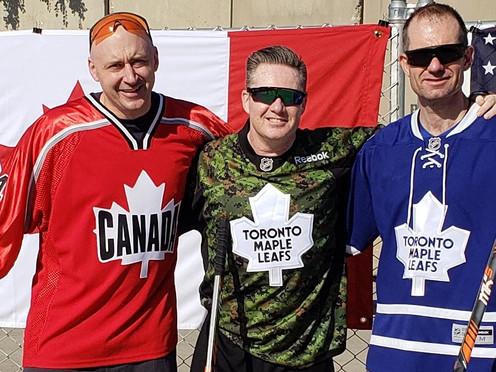 Col (Ret'd) Alex Ruff (right), Brigadier General (Ret'd) Rob Delaney (centre) and Commanding Officer-CF Health Services Centre (Pacific)  Gordon Peckham
