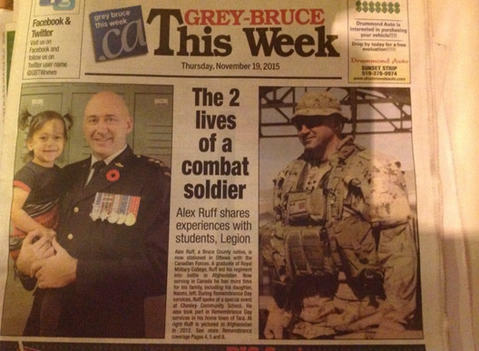 The 2 lives of a combat soldier.  Alex Ruff shares experiences with students, Legion.