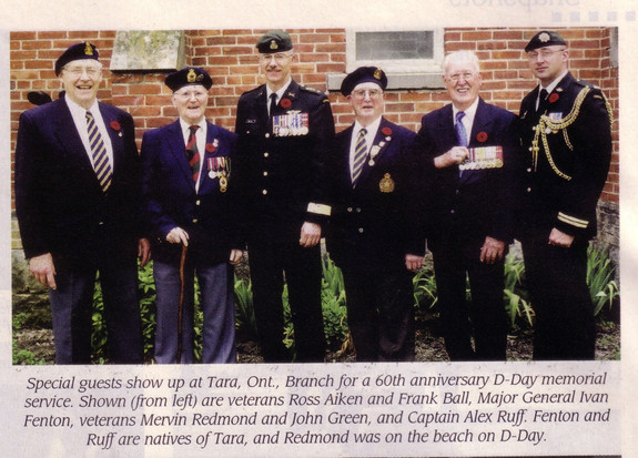 Special guests show up at Tara, Ont., Branch for a 60th anniversary D-Day memorial service. Shown (from left) are veterans Ross Aiken and Frank Ball, Major General Ivan Fenton, verterans Mervin Redmond and John Green, and Captain Alex Ruff.  Fenton and Ruff are natives of Tara, and Redmond was on the beach on D-Day.