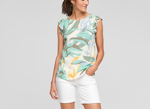 Top van s. Oliver turquoise leafs