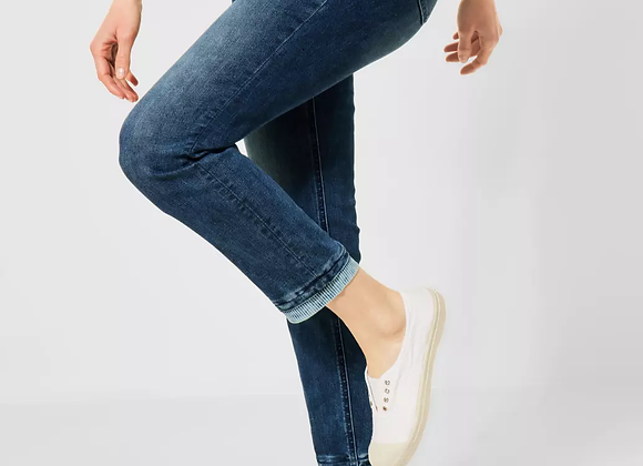 Hoge taille jeans met streep accent Cecil
