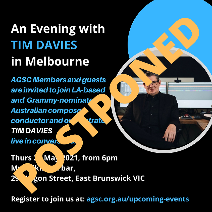 POSTPONED - An Evening with Tim Davies in Melbourne