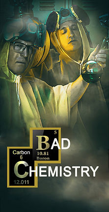 Bad Chemistry Logo with two men dressed as scientists, one holding a beaker.