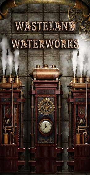 Steampunk Engine with Steam Emitting from pipes with the Wasteland Waterworks logo above the steam