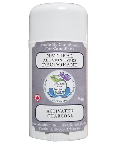 Activated Charcoal Natural Deodorant 84g