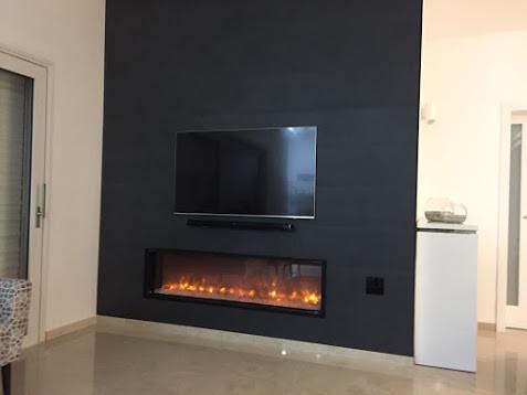 עיצוב קיר טלוויזיה באמצעות חיפוי קיר מדגם: Stone Anthracite
