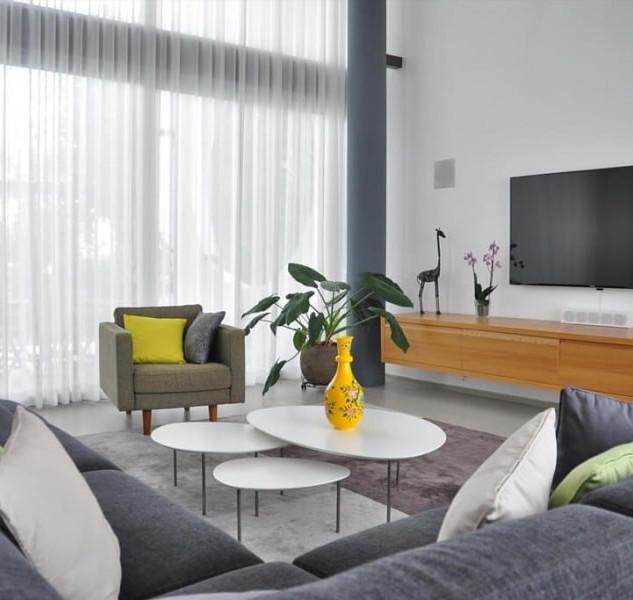 וילון בד לעיצוב הסלון