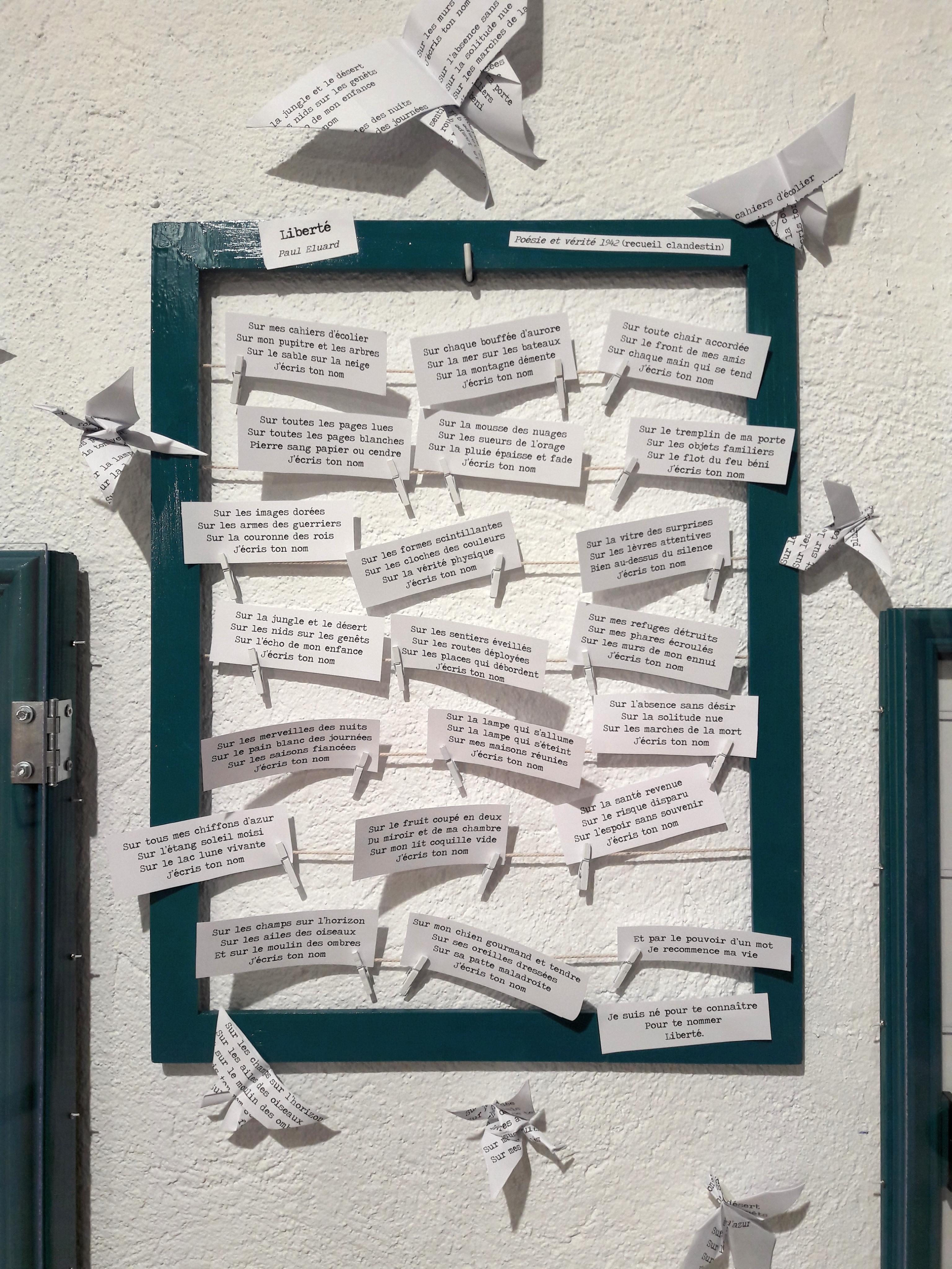 poème origami Paul Eluard La LIberté