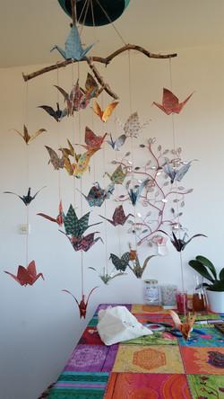 mobile origami grues japonaises
