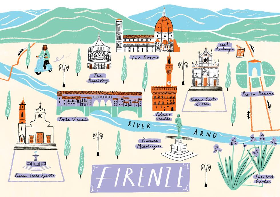 Florence Map, Sarah Martin Illustration