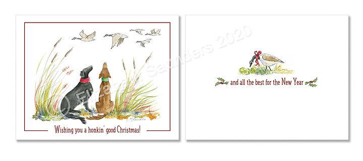 Flat-coated retriever christmas card