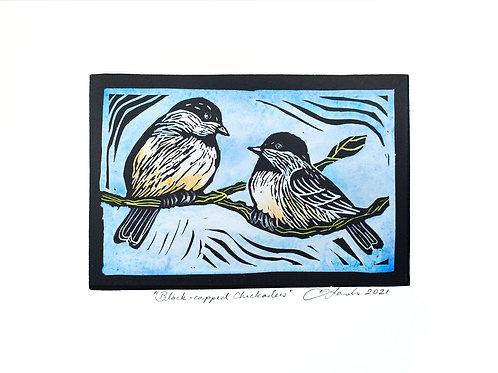 Black-capped Chickadees Hand Coloured Lino Print