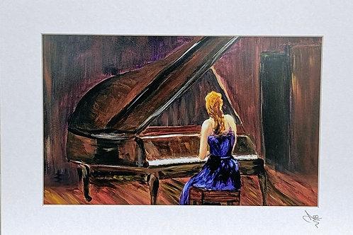 Print ; Girl playing Piano