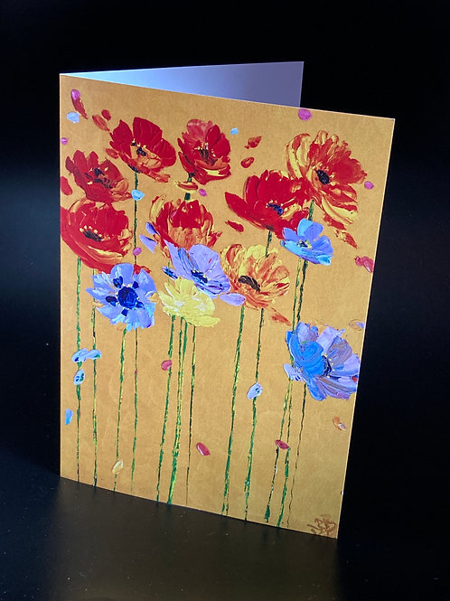 Card Poppies on Gold Background