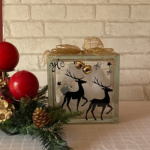 Reindeer Glass Block