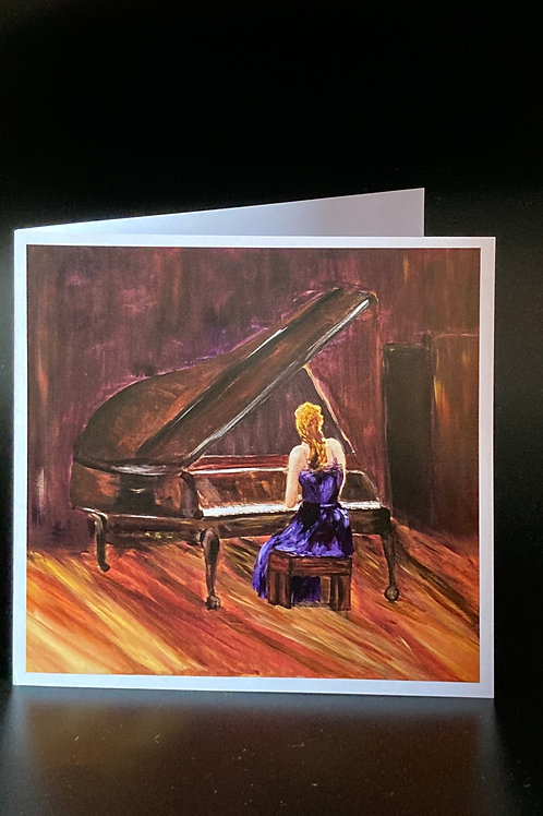 Card; Girl playing the Piano.