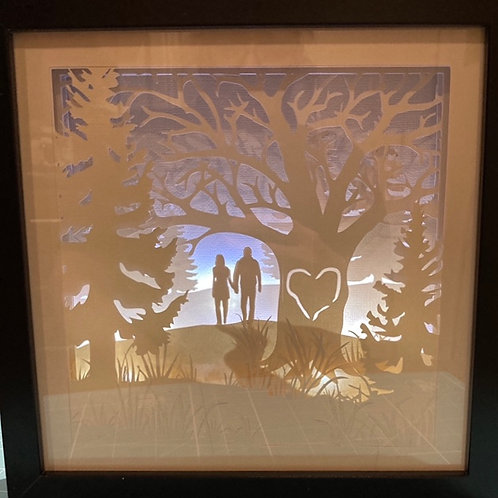 Papercrafted Engagement /Wedding / Anniversary Lightbox