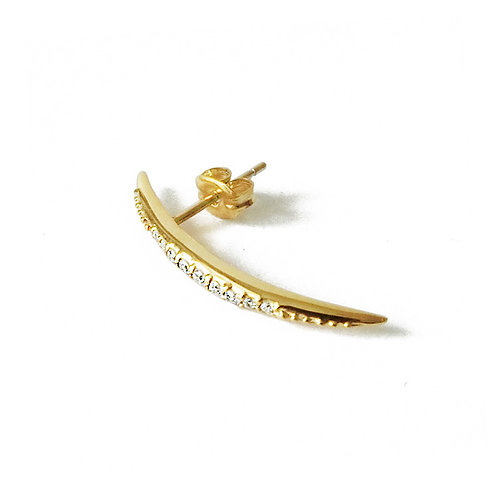 Thin Curve Pierce Crystal Gold