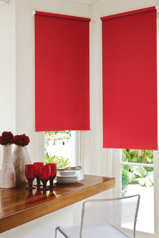 Jigsaw Blinds Red Roller Blind
