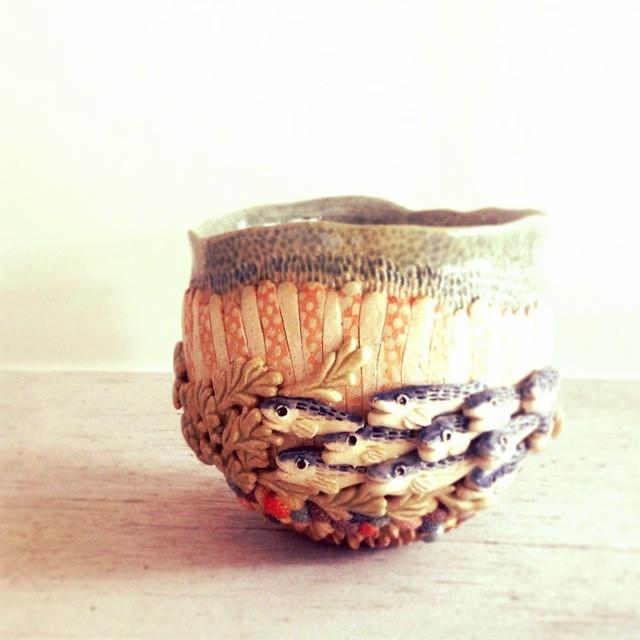 Instagram - うをちゃわん。おさかなもりもり。#ceramics #陶芸 #bowl 2015-4-29-9:20:16