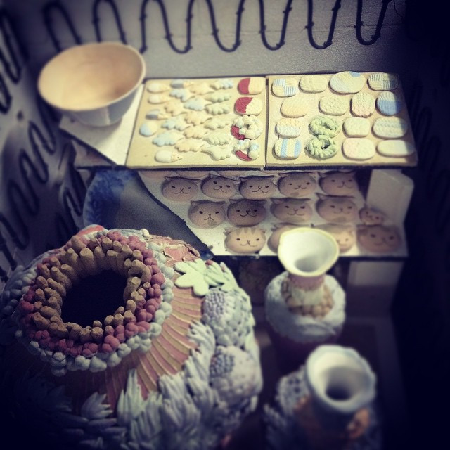 Loaded a kiln , fingers crossed #ceramics #pottery #陶芸