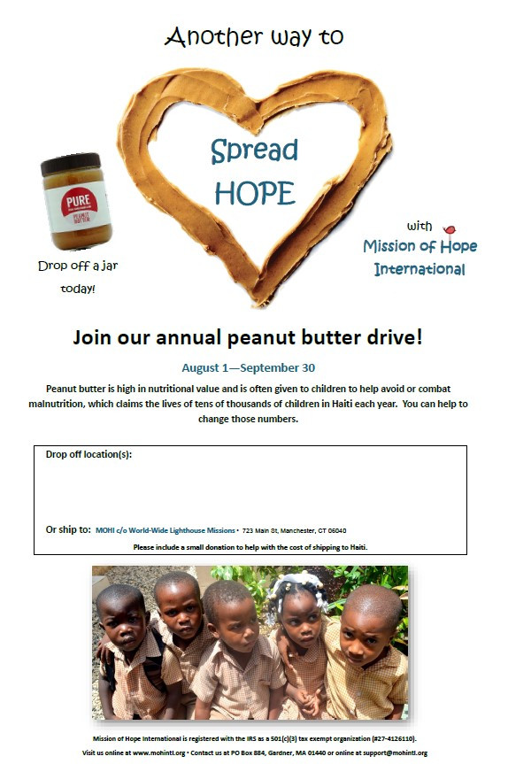 Donate to the cost of shipping the peanut butter to Haiti