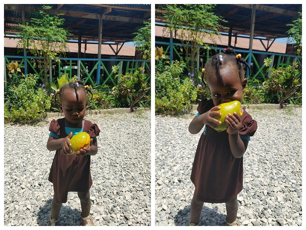 Baby Melissa really knows how to eat and enjoy a mango!  This is from a mango tree planted on our campus by the Sri Lankan officers serving in the UN.