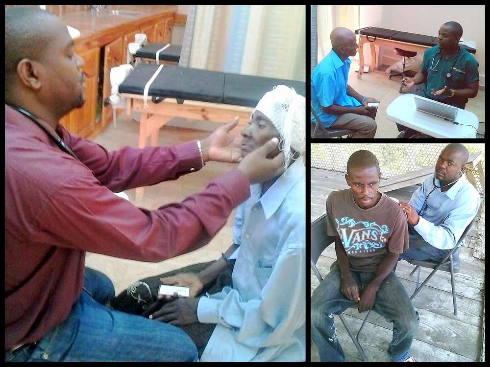 Dr. Emmanuel examining patients in Thozin and St. Etienne