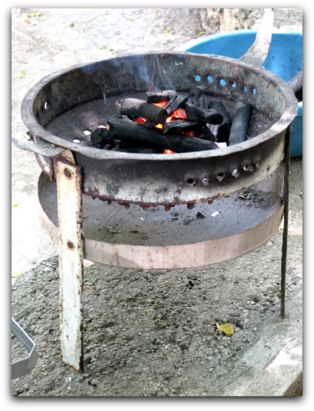 Charcoal cook stove used by those with very little means
