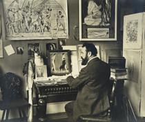 Gottlieb Wenger, Ferdinand Hodler à son bureau dans son atelier, vers 1907. Genève, Institut Ferdinand Hodler, IFH-2018-0002.