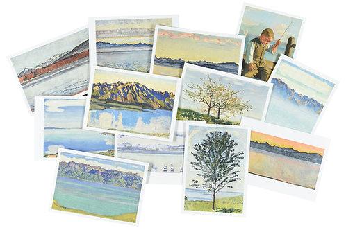 Lot de 12 cartes postales du Léman de Ferdinand Hodler