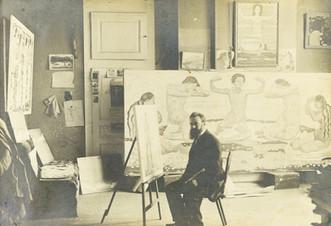 Gottlieb Wenger, Ferdinand Hodler assis devant son chevalet dans son atelier, 1906. Genève, Institut Ferdinand Hodler, Archives Jura Brüschweiler, FH-3010-0059.