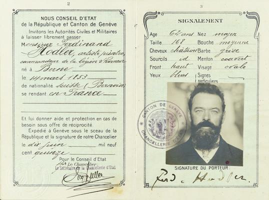Passeport suisse de Ferdinand Hodler, 10 juin 1915. Genève, Institut Ferdinand Hodler, Archives Jura Brüschweiler, FH-6010-0001.