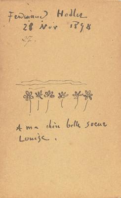 Verso d'une photographie de Jean Lacroix portant une dédicace à Jeanne-Louise Jacques, 1896/7. Genève, Institut Ferdinand Hodler.