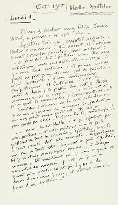 Notes de Daniel Baud-Bovy sur Ferdinand Hodler, 11 octobre 1915. Genève, Institut Ferdinand Hodler, Archives Jura Brüschweiler, BB-2010-0029/43.