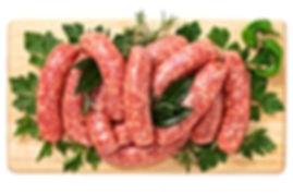 Sausage pork on wooden board
